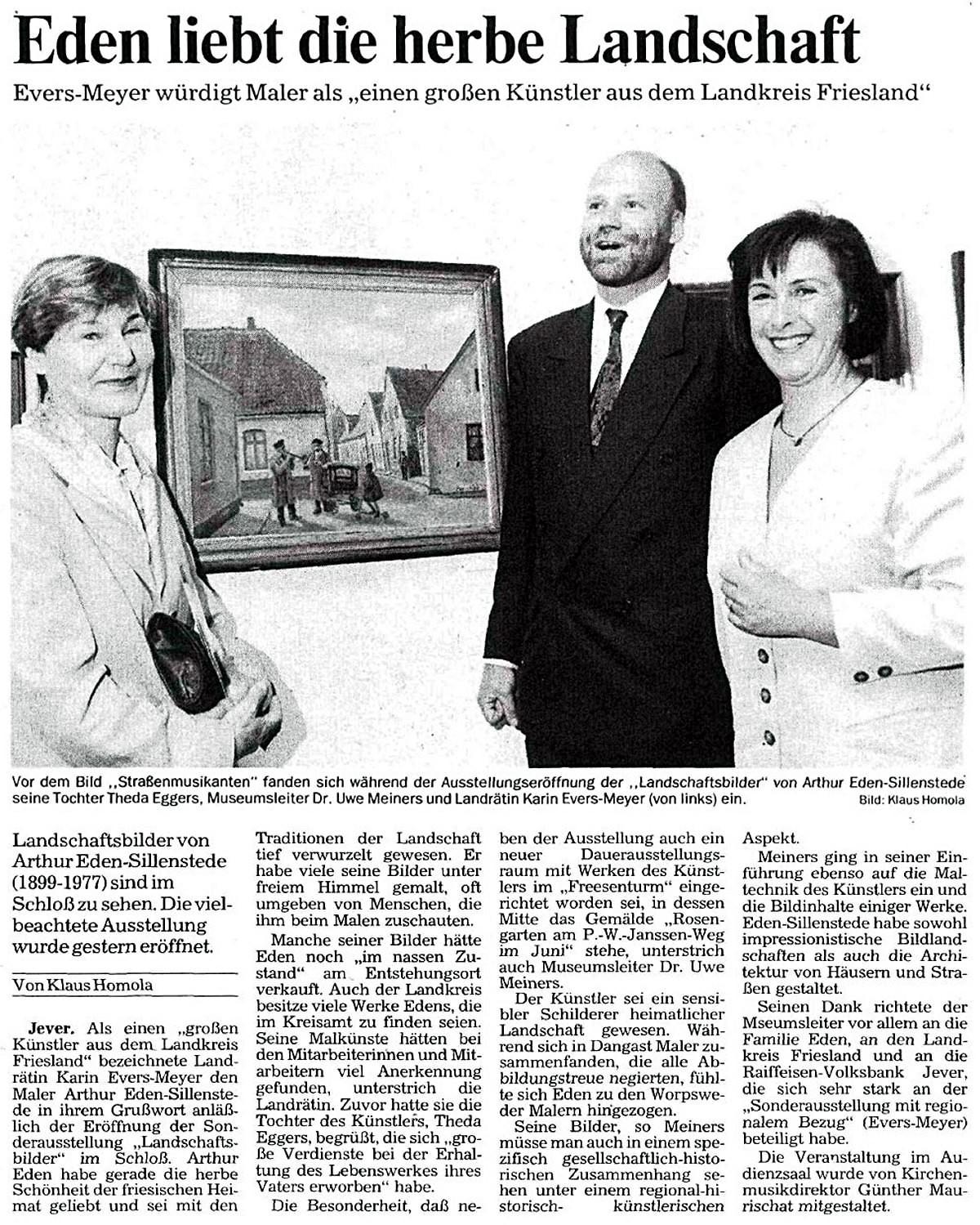 Pressebericht Eden-Sillenstede NWZ 26.06.1995