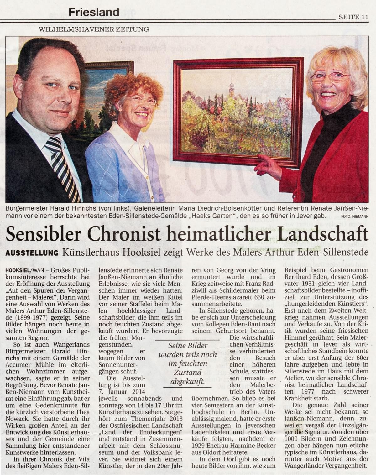 Pressebericht Eden-Sillenstede WZ 19.11.2013