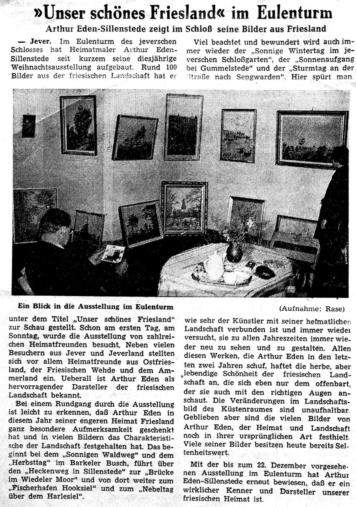 Pressebericht Eden-Sillenstede JW 06.12.1963