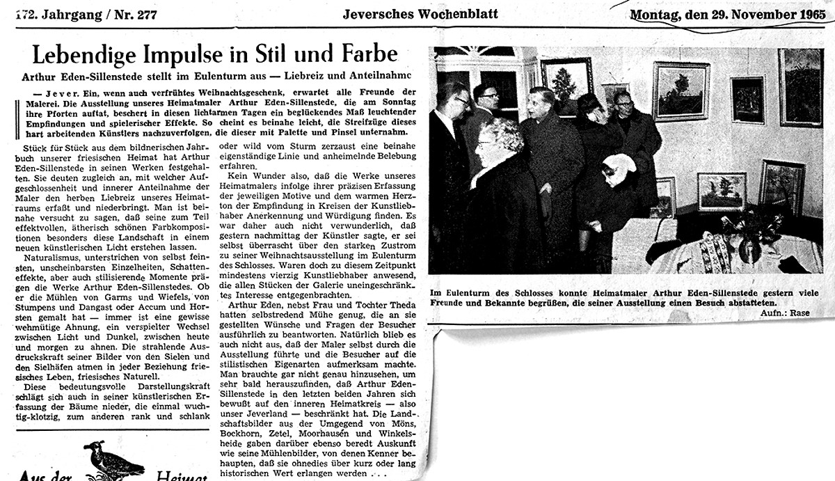 Pressebericht Eden-Sillenstede JW 29.11.1965