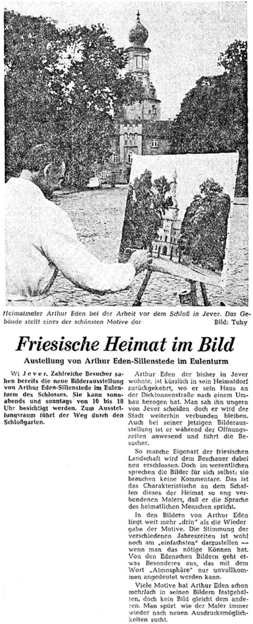Pressebericht Eden-Sillenstede NWZ 01.06.1963