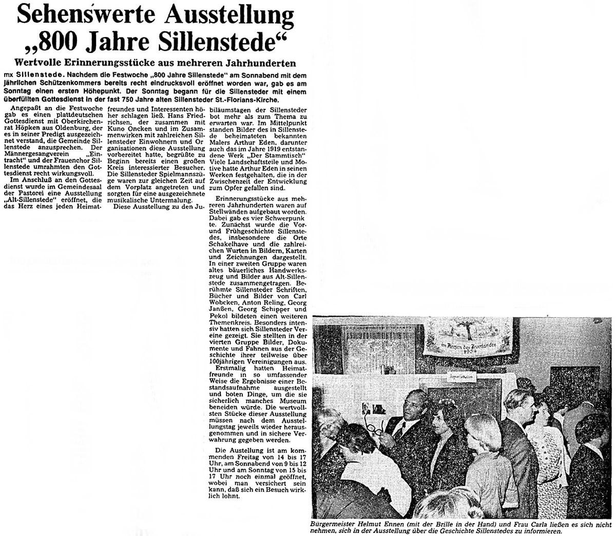 Pressebericht Eden-Sillenstede NWZ 05.07.1977