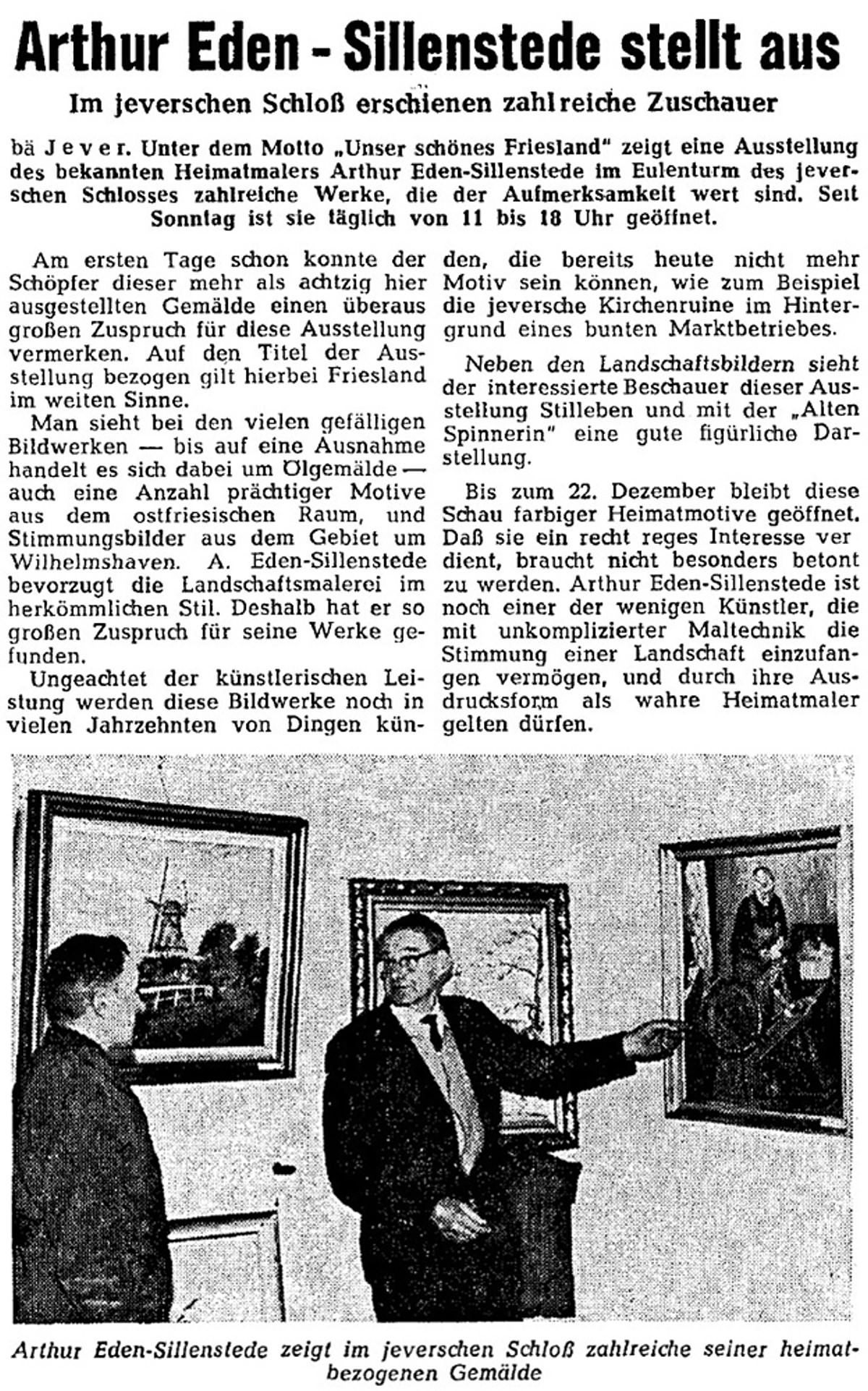Pressebericht Eden-Sillenstede NWZ 06.12.1963