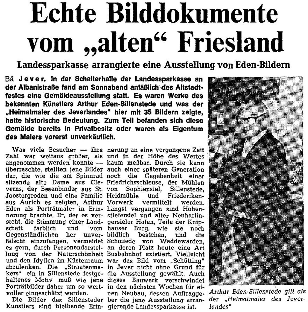 Pressebericht Eden-Sillenstede NWZ 08.07.1974