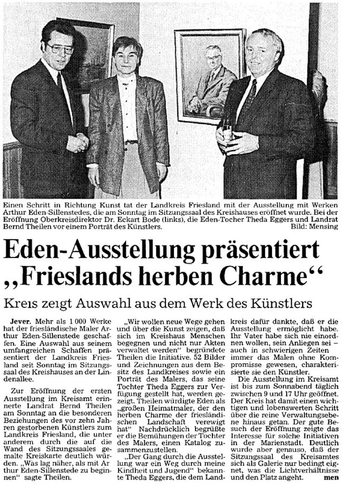 Pressebericht Eden-Sillenstede NWZ 10.11.1987