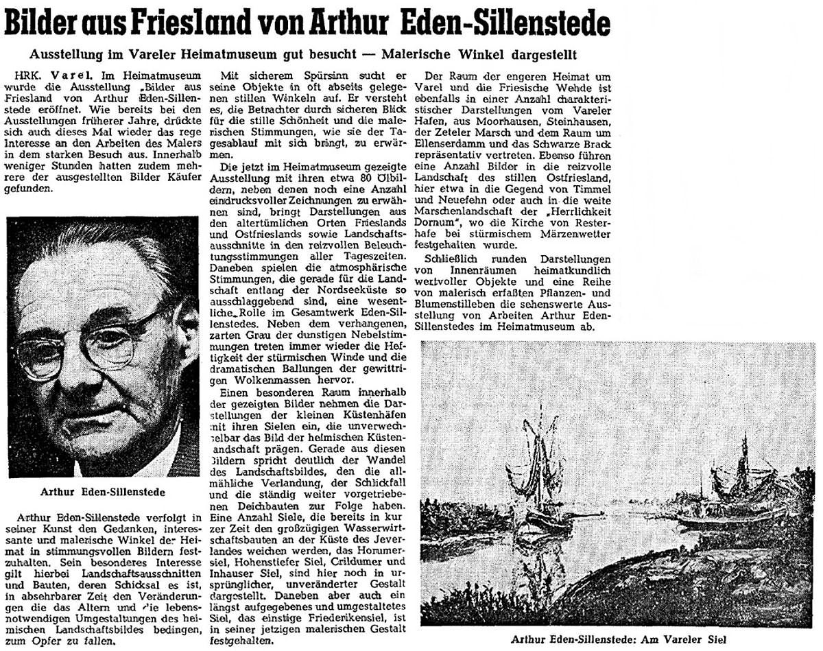 Pressebericht Eden-Sillenstede NWZ 16.09.1964