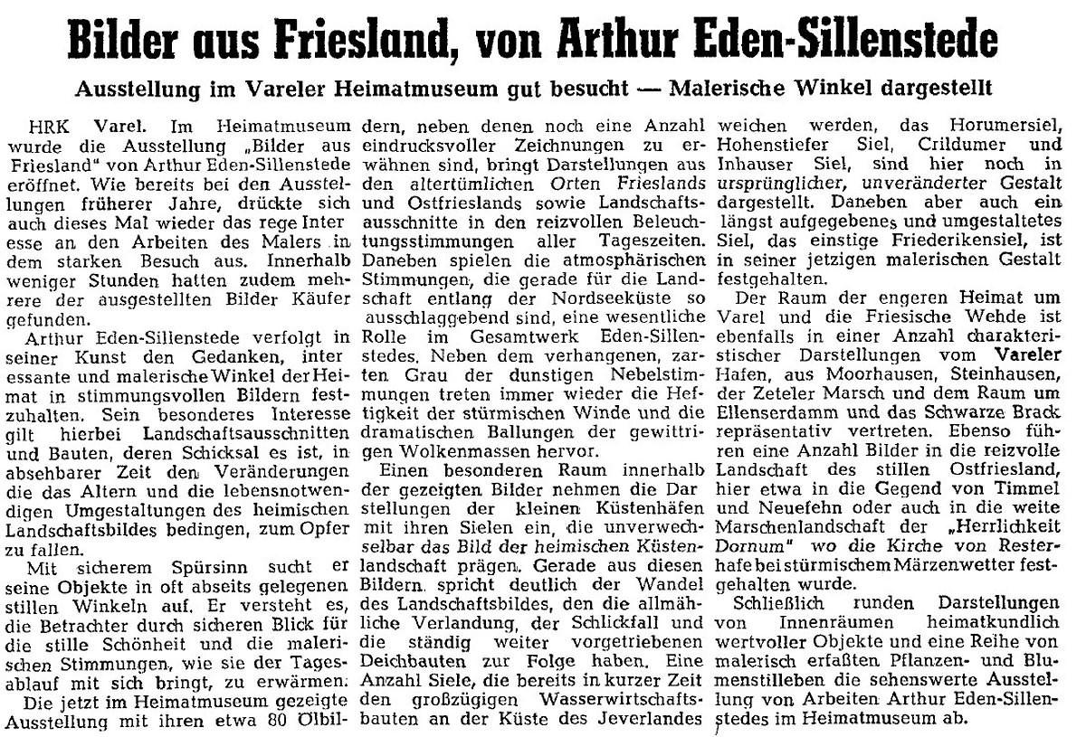 Pressebericht Eden-Sillenstede NWZ 19.09.1964