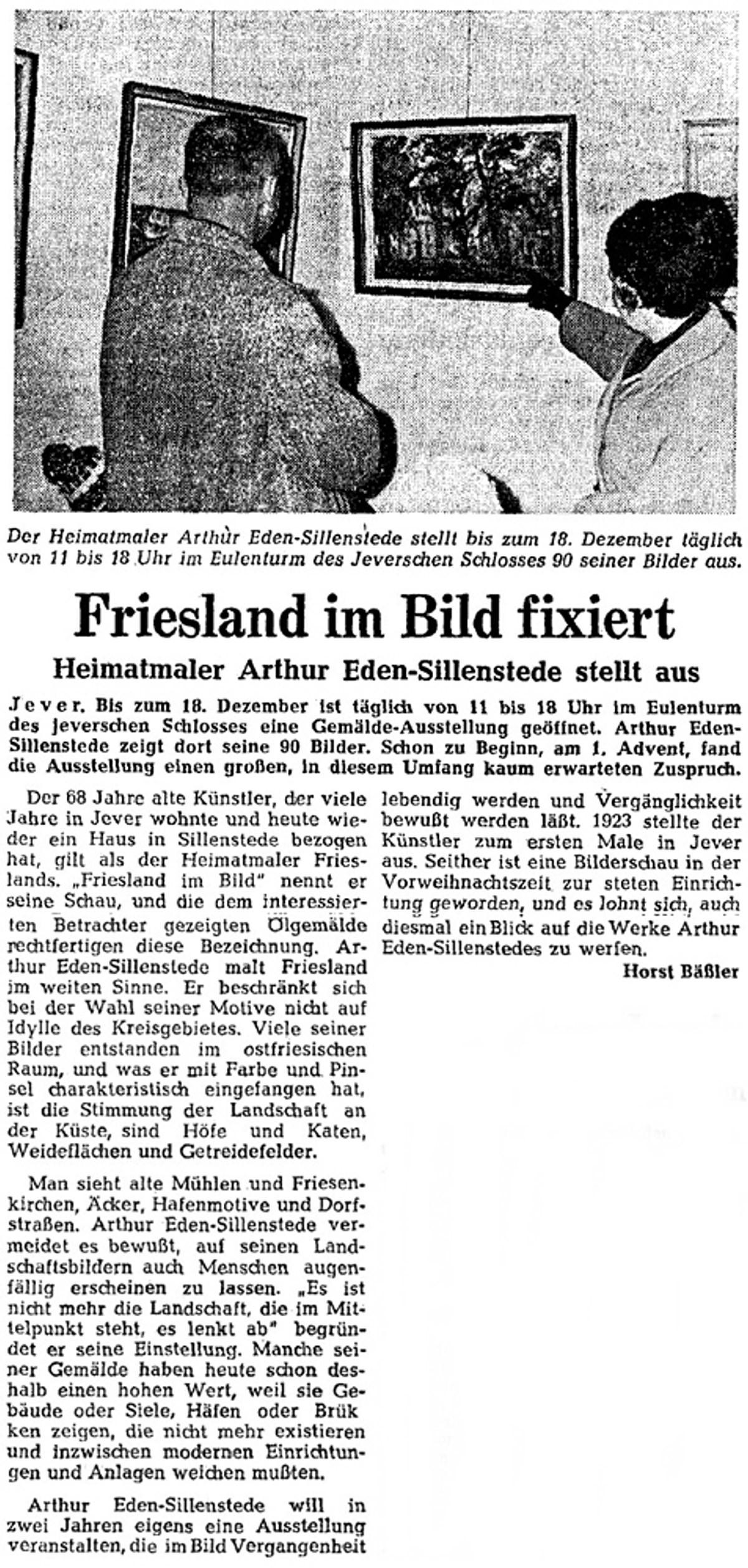 Pressebericht Eden-Sillenstede NWZ 30.11.1966