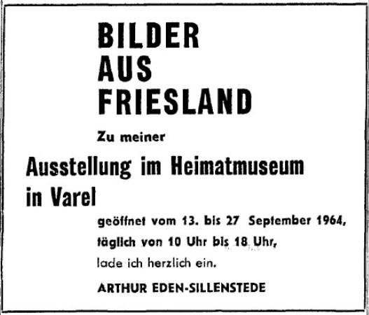 Ankündigung in der NWZ zur Ausstellung im Heimatmuseum Varel im September 1964